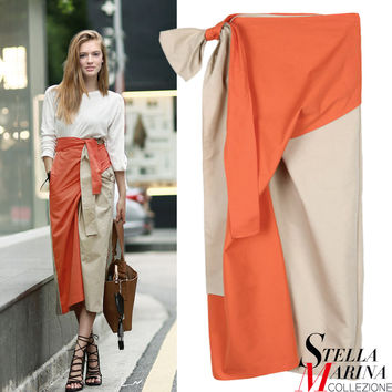 New Women Orange Blue Color Casual Sexy Skirt Mid Calf Length Bud Shape Fashion Wear Solid Ribbon Waist Skirt Style 2136