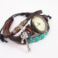 Vintage Style Leather Belt Watch with Turquoise Beads KUI001