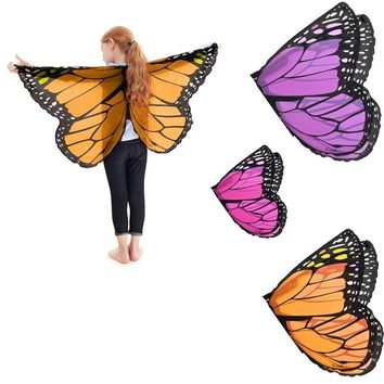 Cool Fairy tale princess cosplay costume Butterfly Wings Shawl Cape Stole Kids Boys Girls  Scarf Wrap accessoriesAT_93_12