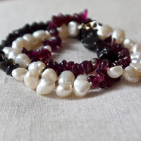 Wrap friendship bracelet necklace Baroque pearl Garnet Delicate minimal Boho jewelry Rock chick chic Pretty feminine purple black Handmade