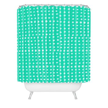 Leah Flores Turquoise Scribble Dots Shower Curtain