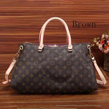 Louis Vuitton Fashion Trending Women Leather Zipper Satchel Tote Travel Bag Handbag G