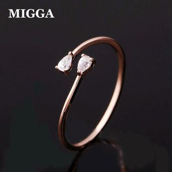 High Quality Cute Small Cubic Zircon Ring for Women Adjustable Ring Bague Rose Gold Color Jewelry