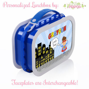 Superhero Lunchbox - Personalized Lunchbox with Interchangeable Faceplates - Double-Sided Boy Comic Superhero Lunchbox
