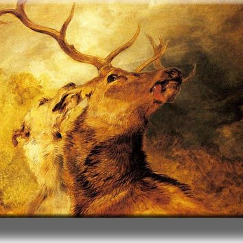 Hound Biting Stag Painting Picture on Acrylic , Wall Art Décor, Ready to Hang!