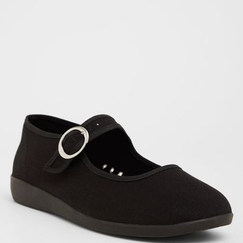 Black Canvas Mary Jane Flat (Wide Width)