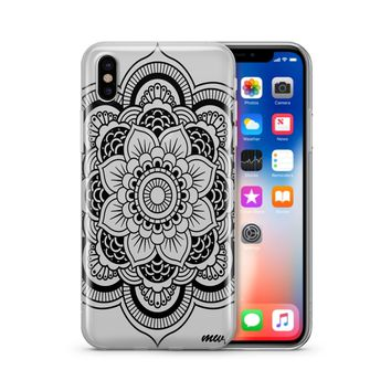 Black Henna Full Mandala - Clear TPU Case Cover Phone Case