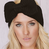 Black Bowknot Knitted Headband