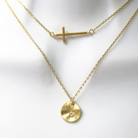 Double layered, Cross and disc, Gold, Silver, Necklace, Cross, Personal, Letter, Initial, Circle, Disc, Layering, Necklace, Gift, Jewelry