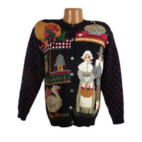 Ugly Christmas Sweater Vintage Tacky Holiday Party Thanksgiving Cardigan Women's size L