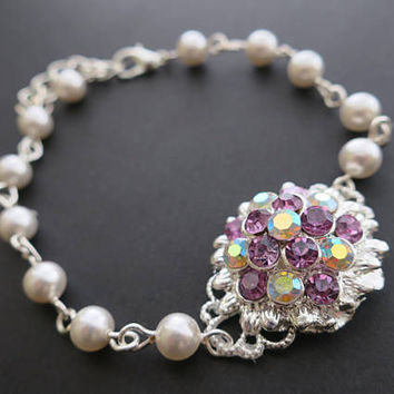 Wedding Jewelry Bridesmaid Bracelet Gift Amethyst Purple Crystal Flower Swarovski Pearl Bridal Bracelet Vintage Glam Plum Eggplant Necklace