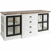 ALFORD FARMHOUSE BUFFET CABINET GLASS DOORS
