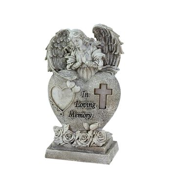 "6.5"" Religious ""In Loving Memory"" Praying Bereavement Angel Solar Powered Outdoor Garden Statue"