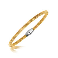 Sterling Silver Yellow Gold Plated Thin Popcorn Design Bangle