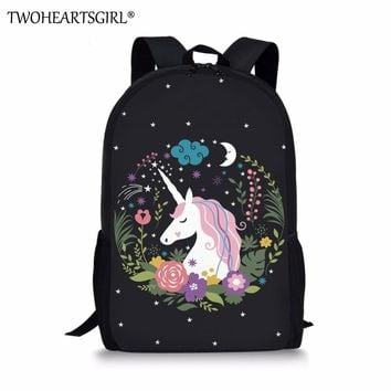 Twoheartsgirl Cartoon Cute Unicorn Design Girls School Bags Children Kids Schoolbags Primary Junior Students Fashion Bookbags