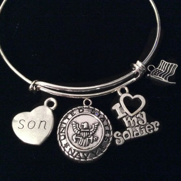 I Love my Soldier Son Navy Expandable Charm Bracelet Adjustable Bangle Gift USA Military Jewelry