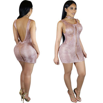 Sweety Pink Hollowout Backless Knitted Mini Dress 24816