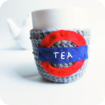 Cozy Cover Tea cozy tea mug cover cosy funny gray red blue crochet London Underground handmade