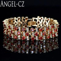 ANGELCZ Luxury Red Cubic Zirconia Stone Indian Style Yellow Gold Color Wide Bracelets Bangles For Women Wedding Jewellery AB053