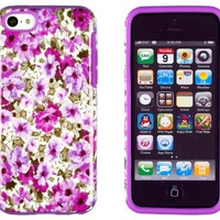 DandyCase 2in1 Hybrid High Impact Hard Lavender Garden Floral Pattern + Purple Silicone Case Cover For Apple iPhone 5C + DandyCase Screen Cleaner