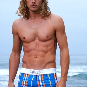 Sauvage Swimwear Azure Plaid Surf Shorts