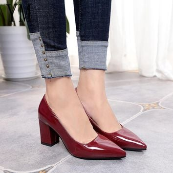 SHOES HEELS Women Pumps Black High heels 7.5cm Lady Patent leather Thick with Autumn Pointed Single Shoes Female Sandals