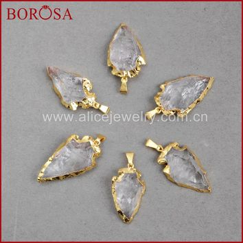 BOROSA Fashion Arrow Pendants New Crystal quartz arrowhead pendants  Gold Quartz Druzy Necklace Pendants G509