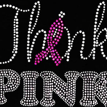 Rhinestone Pink Ribbon Cancer Awareness T-Shirt - Bling Shirt