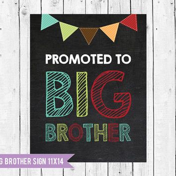 Big Brother Chalkboard Pregnancy Announcement // Promoted to Big Brother Sign // Big Brother Sign // Instant Download JPEG Printable