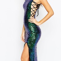 Naanaa Allover Sequin Maxi Dress With Lace Up Side Detail