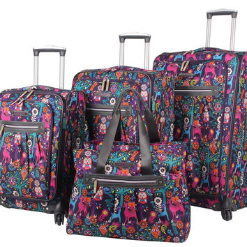 Lily Bloom 4 Piece Luggage Collection With Spinner Wheels For Woman (Wildwoods)