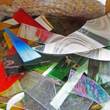 Scrap Stained Glass, 6+ pounds, multi colors, multi textures, multi sizes,  transparent and opaque, mosaics, jewelry , suncatchers