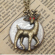 Steampunk Deer Locket Necklace Vintage Style by sallydesign