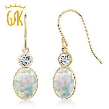1.54 Ct Oval Cabochon White Simulated Opal White Topaz 14K Yellow Gold Fashionable Colorful Austrian Crystal Drop Earrings