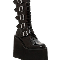 Demonia By Pleaser Swing Black Patent Buckle Strap Boots