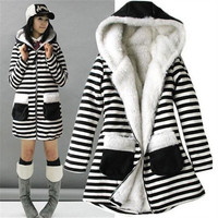 Newest Fashion Womens Zebra Thicken Winter Warm Coat Lady Fur Jacket Outwear ZHA (Size: One Size) = 1932968836