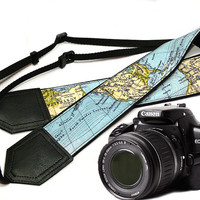 DSLR Camera Strap. World Map Camera Strap. Camera accessories. Photographer gift. Map.