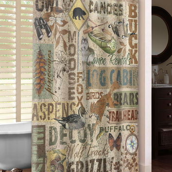 Rustic Words Shower Curtain