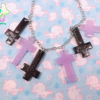 Pastel Goth Cross Necklace - Lavender and Black