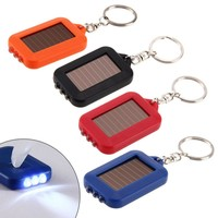 3 Leds Solar Panel Sun Power Energy Torch Camping Light Portable Key Chain Hiking Rechargeable Spotlight Lamp EA14
