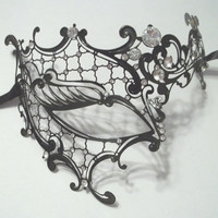 Black Phantom Laser Cut Venetian Half Mask Masquerade Metal Filigree Halloween