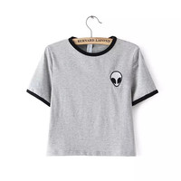 2015 Short Sleeve Alien t shirts Womens Embroidery t-shirt Black White Striped tshirts Cropped top alien shirt Summer Crop Tops