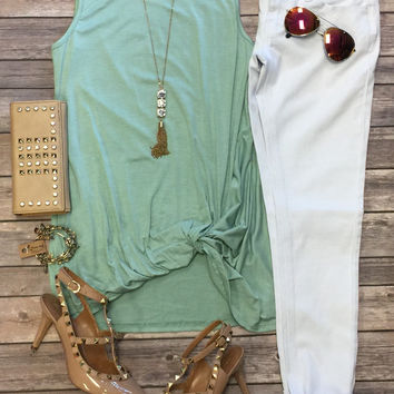 Knotted Tank Top: Sage