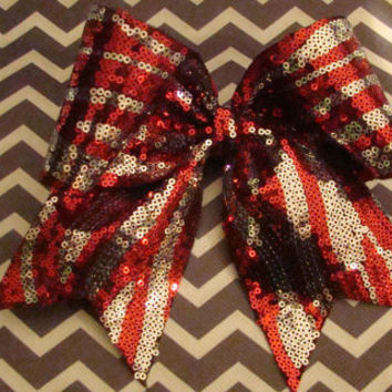 Red and Silver Sequin Zebra Cheer Bow by isparklethat on Etsy