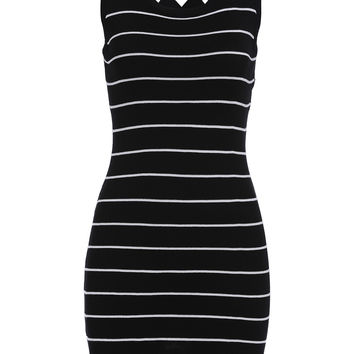Black Striped Sleeveless Knitted Bodycon Dress