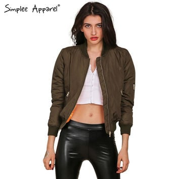 Simplee Apparel Winter parkas cool basic bomber jacket Women Army Green down jacket coat Padded zipper chaquetas biker outwear
