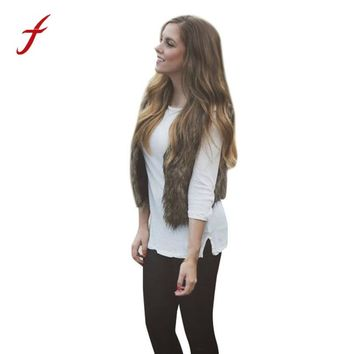 Female Winter vest Elegant waistcoat for Women Girls Warm Faux Fur Sleeveless Vest Coat V-Collar Waistcoat Jacket Outwear