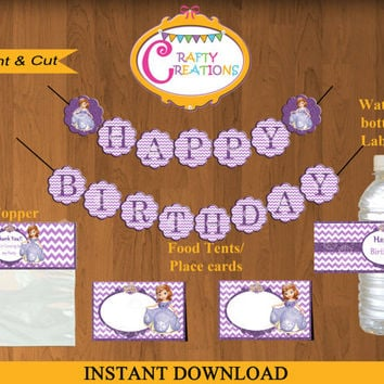 Disney Princess Sofia the First Printable Party Package - Sofia the First Party Kit - Sofia Party Decor -Princess Birthday- INSTANT DOWNLOAD