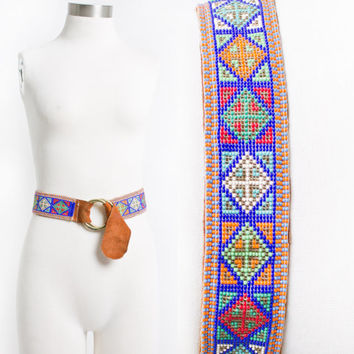 Vintage 1960s Belt - BEADED Brown Suede leather Braided Boho Hippie Adjustable Loop Belt 60s -70s - S - L