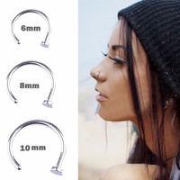 1Pc Stainless Steel 6/10/12mm Nostril Nose Hoop Stud Ring Clip On Body Fake Piercing Jewelry Accessory